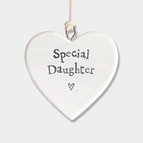 East of India White Porcelain Heart Special Daughter Gift Decoration 4.5x4.5cm