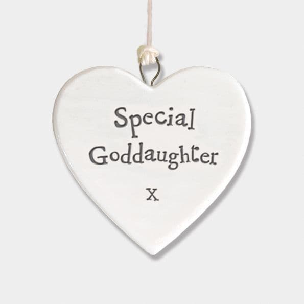 East of India White Porcelain Heart Special Goddaughter Gift Decoration 4.5x4.5cm