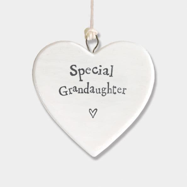 East of India White Porcelain Heart Special Grandaughter Gift Decoration 4.5x4.5cm