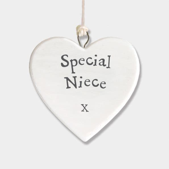 East of India White Porcelain Heart Special Niece X Gift Decoration 4.5x4.5cm