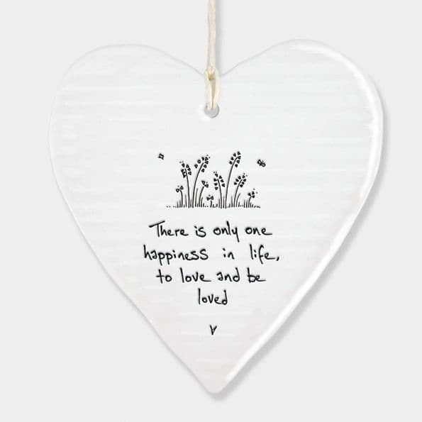 East of India White Porcelain Heart There is only one Happiness Gift 10x9cm