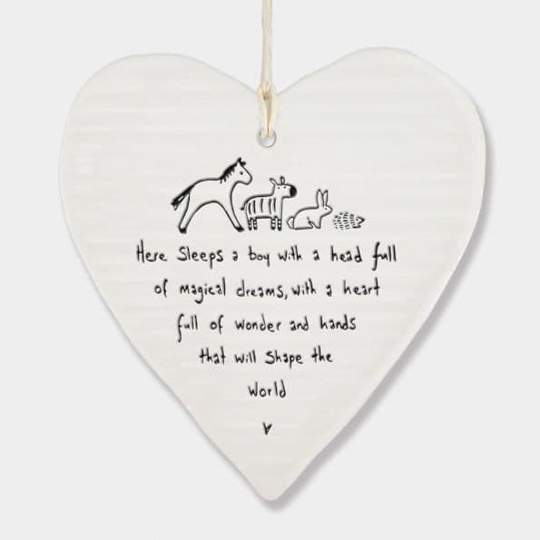 East of India White Porcelain Here Sleeps a Boy head full magic hearts 10x9cm