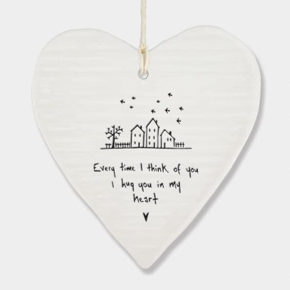 East of India White Porcelain I Hug you in my heart Decoration 10x9cm