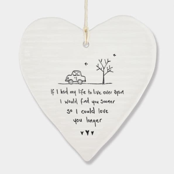 East of India White Porcelain If had my Live Over Again heart Decoration 10x9cm