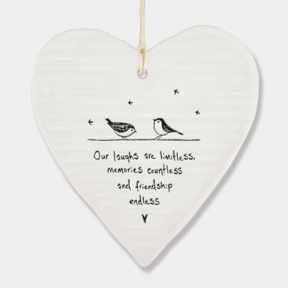 East of India White Porcelain Our Laughs are limitless heart Decoration 10x9cm