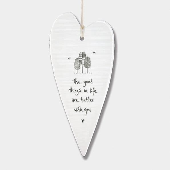 East of India Wobbly White Porcelain Good Things in Life are Better with you 13.7 x 6cm