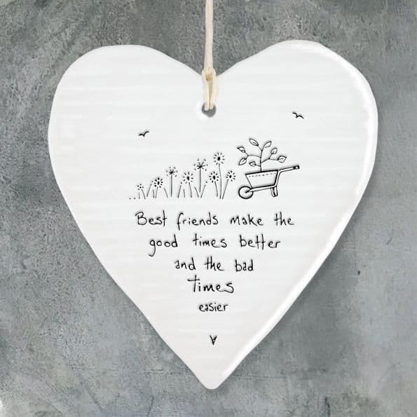 East of India Wobbly White Porcelain Heart Best Friends make good times better 10x9cm