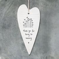 East of India Wobbly White Porcelain Heart Thank you for being amazing 13.7x6cm