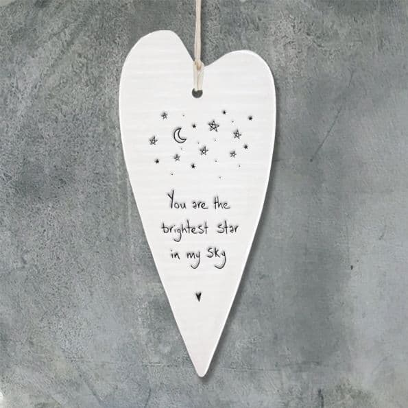 East of India Wobbly White Porcelain Your Are the Brightest Star in my Sky 13cm