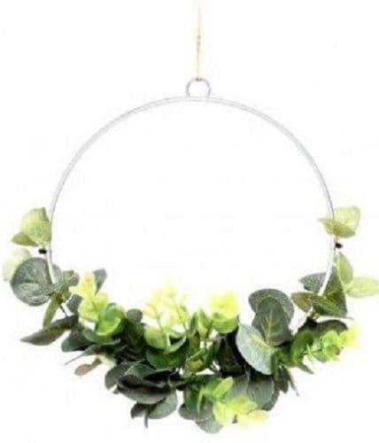 Entwined Eucalyptus Green Leaf Half Hoop Wreath Hanging Decoration 20x20cm