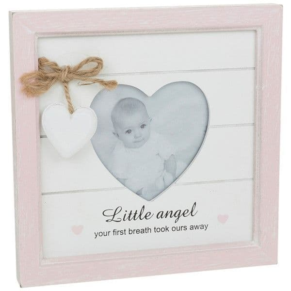 Farmhouse Chic Baby Girl Pink Heart Wooden Freestanding Photo Frame 18x18cm