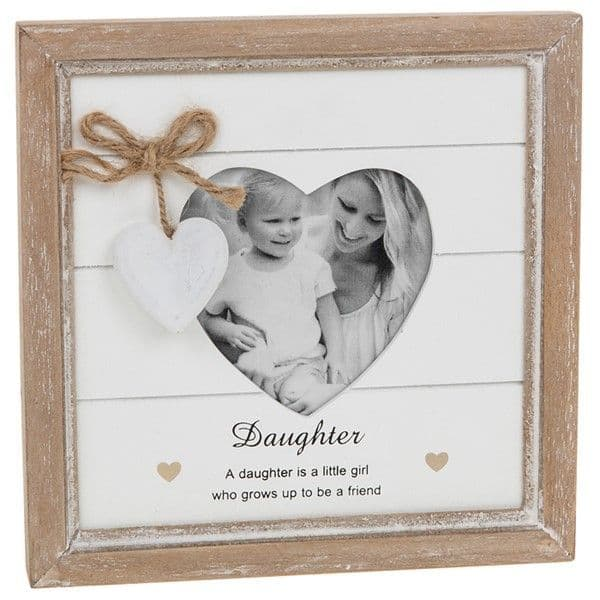 Farmhouse Chic Daughter Natural & White Wooden Freestanding Photo Frame 18x18cm
