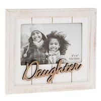 Farmhouse Chic Daughter White Wooden Shiplap Freestanding Photo Frame 20x19cm