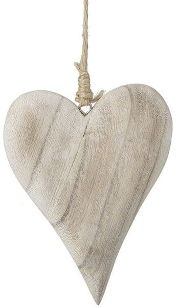 Farmhouse Country Chunky Wooden Lime Wash Heart Hanging Decoration 13x10cm