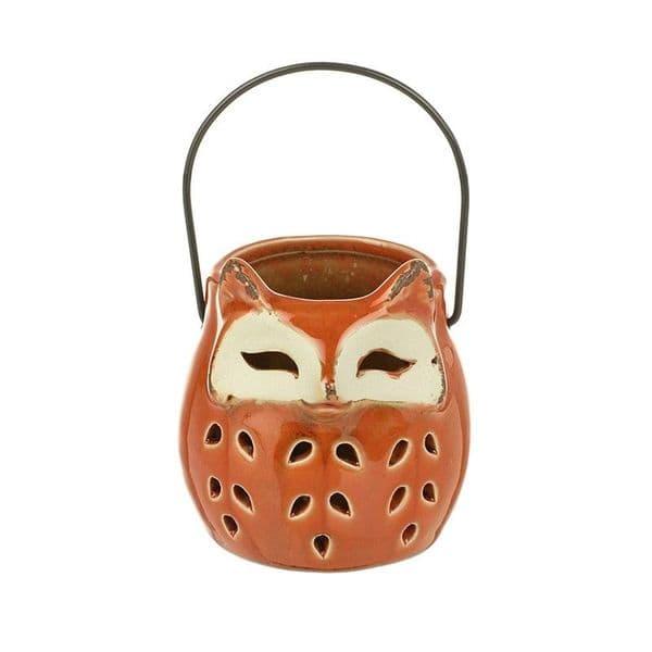 Halloween Fox Ceramic Tealight Candle Lantern Ornament Decoration 8x9x8.5cm