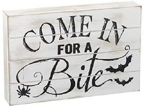 Halloween Wood Block Come in For a Bite Sign Freestanding Decoration 15x23x4cm