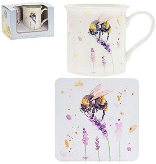 Leonardo Country Life Bumble Bee Floral Coffee Tea Mug & Coaster Boxed Gift Set