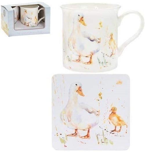 Leonardo Country Life Duck and Duckling Coffee Tea Mug & Coaster Boxed Gift Set