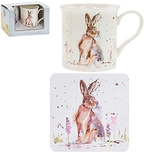 Leonardo Country Life Hare Floral Coffee Tea Mug & Coaster Boxed Gift Set