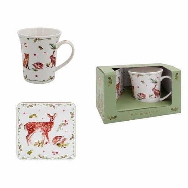 Leonardo Winter Forest Animals Christmas Coffee Tea Mug & Coaster Boxed Gift Set