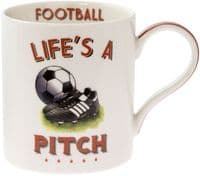 Life's a Pitch Football Sport Boxed Gift Fine China Mug Fathers Day 13x9x10cm
