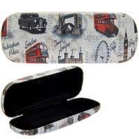 London Sights Hard Shell Reading Vision Eye Glass Case & Cloth 3.5x16x6cm