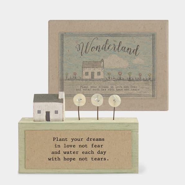 MINI Rustic Wood Plant your Dreams in Love Home Ornament Decoration 11x5x2cm