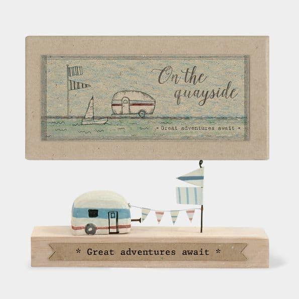 MINI Rustic Wood Quayside Caravan Ornament Decoration Great Adventures Awaits 11x5x2cm