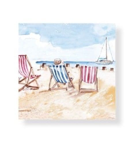 Nautical Seaside Deck Chairs Greetings Blank card All Occasions Birthday 14x14cm