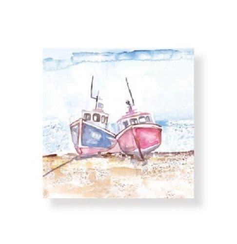 Nautical Seaside Fishing Boat Greetings Blank card All Occasion Birthday 14x14cm