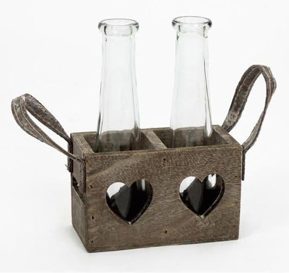 Pair Small Rustic Glass Flower Vases in Heart Holed Wood Crate Holder 12x6x7cm
