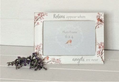 Robin Blossom Remembrance Rustic White Wooden Freestanding Photo Frame 20x15cm