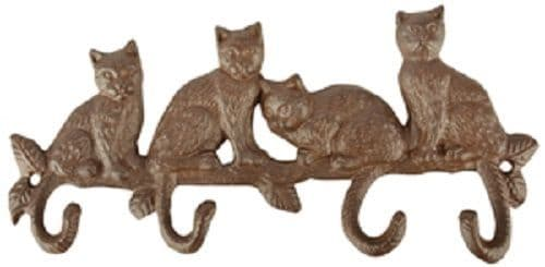 Rustic Brown Cast Iron 4 Cats on Branch Tail Wall Work Coat/Home Hook 29x5x14cm