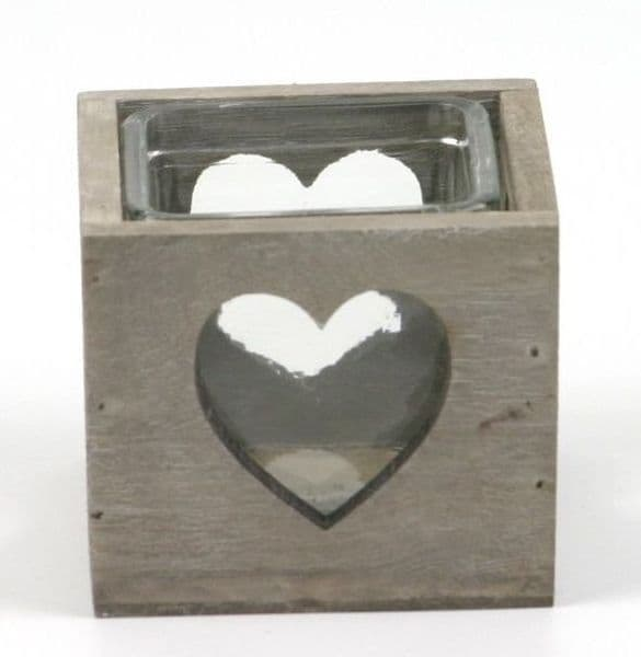 Rustic Country Heart Wooden Candle Tealight Holder with glass Insert 9.5x9.5x8cm