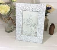 Rustic Embossed Pattern Whitewashed Wooden Freestanding Photo Frame 21.5x16.5cm