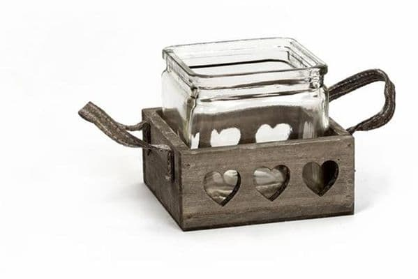 Rustic Single Glass Pot in Wooden Heart Tray Candle Tea Light Holder 12x12x5.5cm