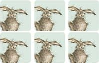 Set 6 Wrendale Design Woodland Hare Hot Drink Coasters with Cork Backing 10x10cm