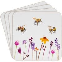 Set of 4 Busy Bee Drinks Coasters with Cork Backing Proctection 11x11cm