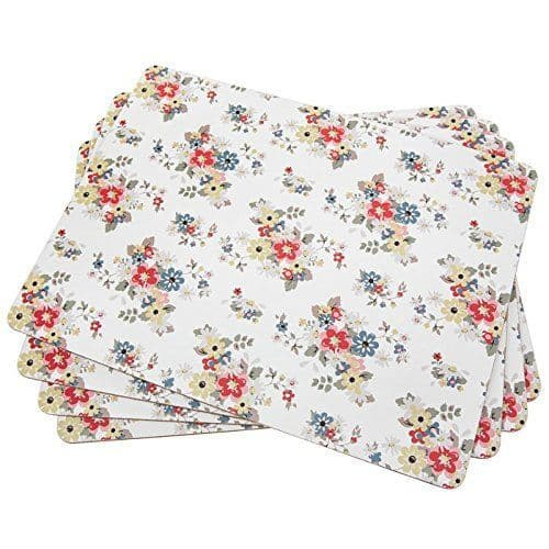 Set of 4 Cream Floral Summer Daisy Table Placemats with Cork Backing 28x22cm