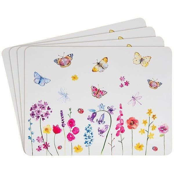 Set of 4 Leonardo Butterfly Garden Table Placemats Cork Backing 28x22cm