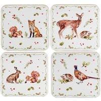 Set of 4 Leonardo Winter Animals Hot Drink Coasters with Cork Backing 11x11cm