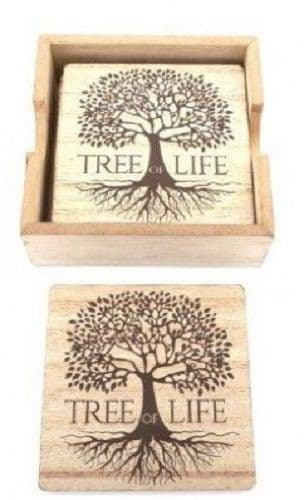 Set of 6 Rustic Wooden Square Tree of Life Drink Mat Coasters 10x10cm & Holder