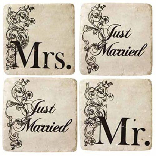Shabby Chic 4 Distressed Tile Ceramic Mr & Mrs Coasters 10x10cm Wedding Gift