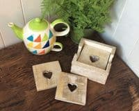 Shabby Rustic Lime Washed Wooden Heart 6 Drink Mat Coasters & Holder 10x10cm