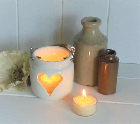 Small White Porcelain Heart Lantern Candle Tea Light Holder Rope Handle 7x7x6cm