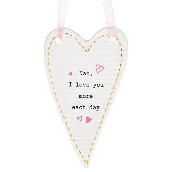 Thoughtful Word Ceramic Nan Love you More each day Hang Heart Gift Boxed 10x6cm