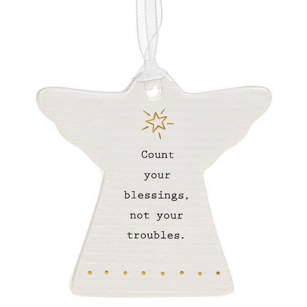 Thoughtful Words Ceramic Guardian Angel Count Blessings not troubles Boxed 8x8cm