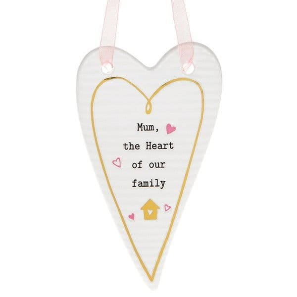 Thoughtful Words Ceramic Mum the Heart of Family Hanging Heart Gift Boxed 10x6cm