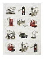 Vintage London Sights Kitchen Tea Towel Home Cook Accessory 100% Cotton Gift 70x50cm