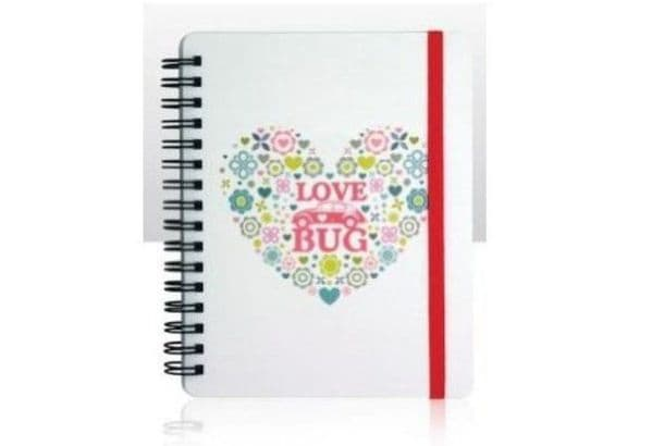 VW Love Bug Flowers & Heart A6 Lined Notebook Pad Licensed by Volkswagen 12x15cm